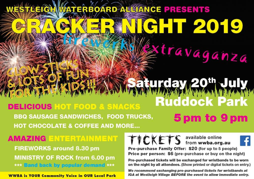 Cracker Night Westleigh 5 pm to 9 pm  Saturday 20th July  Ruddock Park