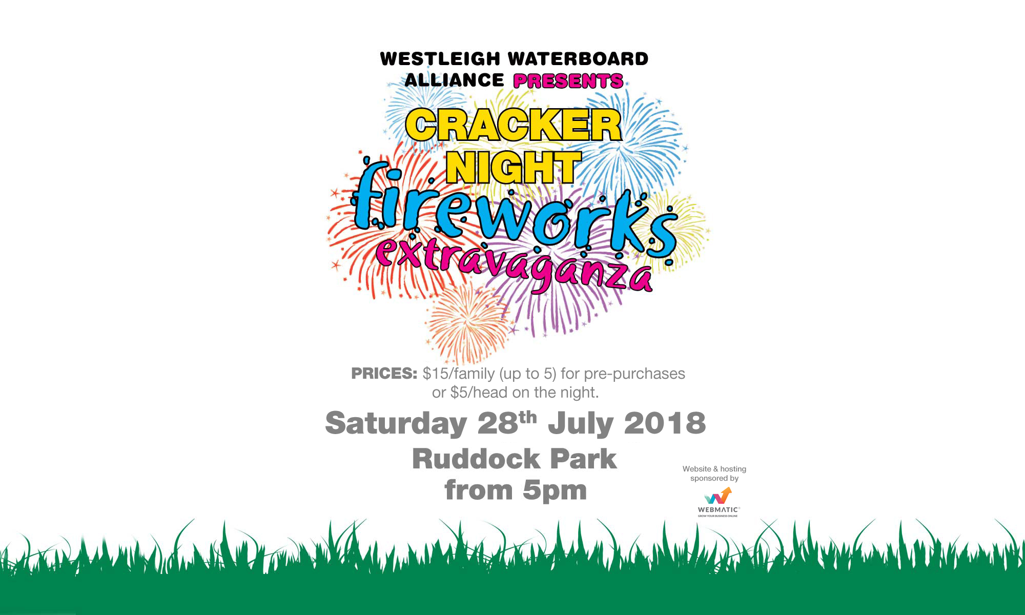 Westleigh Waterboard alliance Presents CRACKER NIGHT Fireworks extravaganza. Sat 28 July 2018. Ruddock park, from 5pm